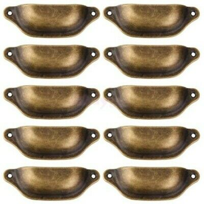 AU13.58 • Buy 10*Antique Brass Cupboard Cabinet Drawer Knob Furniture Shell Pull Handles-Newly
