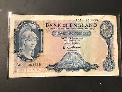 Rare Old Bank Of England £5 Five Pound Note Bank Of England Britannia Lion Note • 18.99£