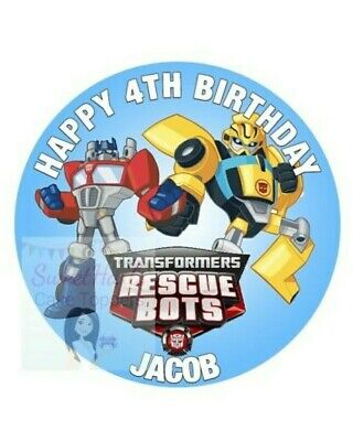 £5.99 • Buy Rescue Bots Transformers Cake Topper Edible Icing Birthday Decoration