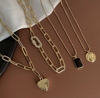 AU22 • Buy 4 Piece Set 18K Gold Plated Gold Necklace New With Tags