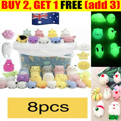 AU10.99 • Buy 8pcs Cute Mini Animal Squishies Kawaii Mochi Squeeze Toys Stretch Stress Squishy