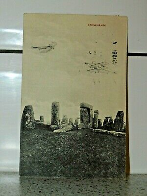 Real Photo Postcard - Stonehenge Excavations & Old Aeroplanes 1919 Postmark • 25£