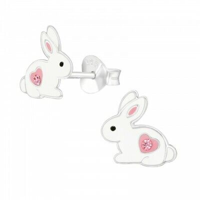 £5.95 • Buy Childrens 925 Sterling Silver White & Pink Bunny Rabbit Stud Earrings