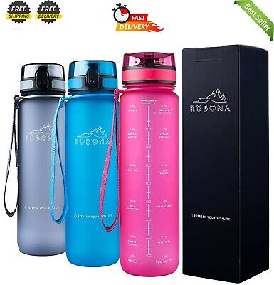 AU29.95 • Buy 1-Litre Motivational Smart Water Bottle With Time Markings Hydration Tracker