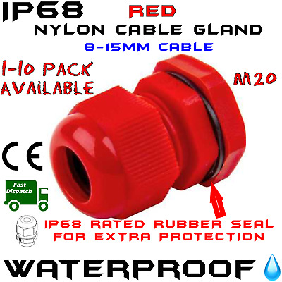 £1.94 • Buy Ip68 Waterproof Red Cable Gland Compression Junction M20 Pack