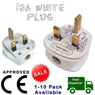 Mains Power Uk 3 Pin Fused Plug, 13a White Pack Of 1-20 • 3.16£