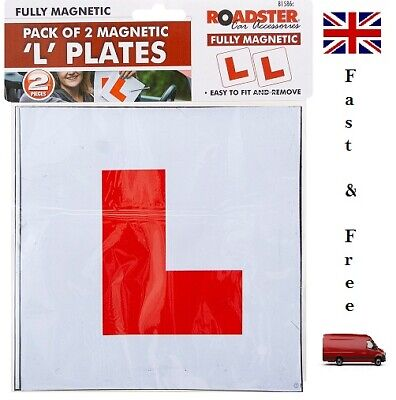 2 X FULLY MAGNETIC L PLATES SECURE Quick Easy To Fix Learner Sign • 2.85£