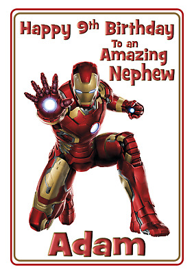 £2.85 • Buy Iron Man / Marvels - A5 Personalised Birthday Card - ANY - Age Relation Name