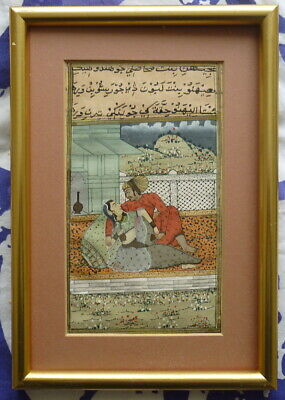 £40 • Buy Antique Mughal Oriental Painting Watercolour * Male Female Portrait On A Balcony