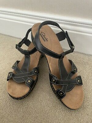 £16.99 • Buy FAB Clarks Black Leather Lightweight Strappy Sandals EU 39.5 UK 6D VGC Cushioned