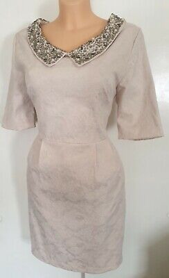 £22.80 • Buy Champagne Jackie O 50s Style Embroidered Idabelle Dress Pockets Darling UK...