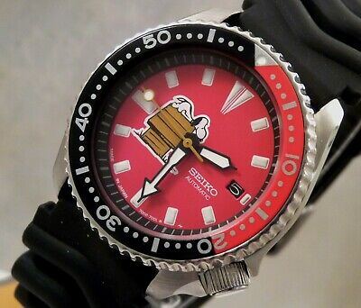 $ CDN164.21 • Buy Seiko Red Snoopy Peanuts Automatic Coke Bezel Scuba Diver Date Watch Custom 7002