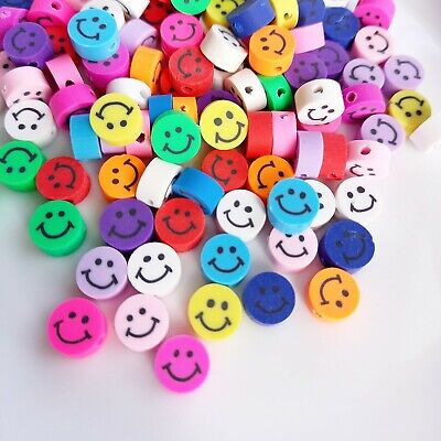 £4.50 • Buy Smiley Face Polymer Clay Beads 10mm Jewellery Beads, Kids Crafts, Rubber Beads