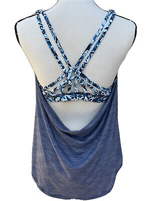 $ CDN56.48 • Buy Lululemon Blue Floral Moment To Movement 2 In 1 Tank Top Size 10