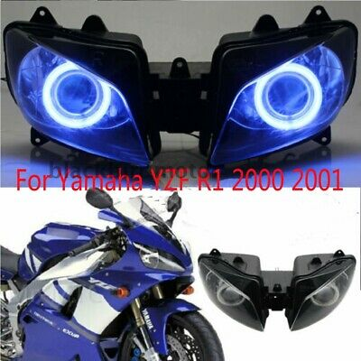 $367 • Buy Blue Halo Angel Eyes Motorcycle Headlight Assembly For Yamaha YZF R1 2000 To2001