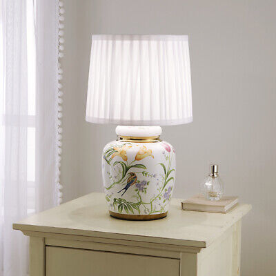£64.99 • Buy Traditional Ceramic Floral Table Lamp With White Pleated Shade 44cm Table Lamp