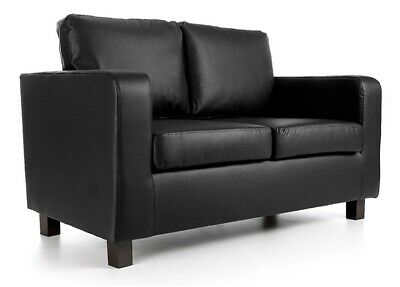 £239 • Buy Black Sofa 2 Seater - Faux Leather FREE NEXT DAY DELIVERY AVAILABLE -TheSofaKing