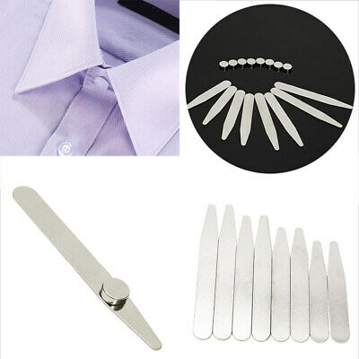 $4.59 • Buy 8 Polished Metal Collar Stays+8 Magnets For Men's Dress Shirts Stainless Steel