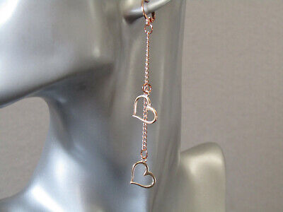 £9.55 • Buy Rose Gold Chain& Double Hearts Long Drop Huggie Hoop Rose Gold Plated Earrings