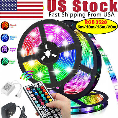 $8.88 • Buy 50FT 65FT Flexible 3528 RGB LED SMD Strip Light Fairy Lights Rooms TV Party Bar