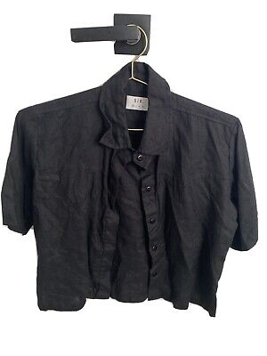 AU30.50 • Buy Sir The Label Black Linen Short Sleeve Shirt Size 0