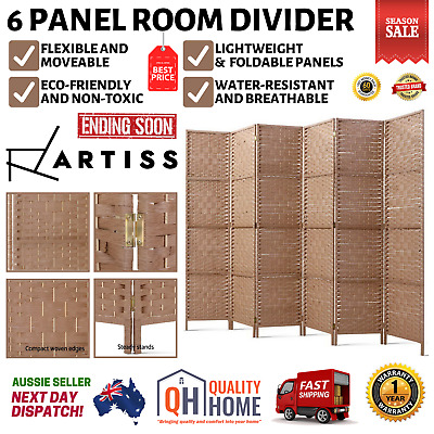 AU144.82 • Buy Artiss 6 Panel Room Divider Screen Privacy Rattan Timber Dividers Stand Natural