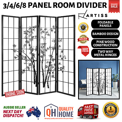 AU140.97 • Buy Room Divider 3/4/6/8 Panel Japan Style Privacy Screen Wood Dividers Timber Stand
