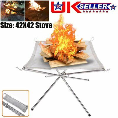 £11.99 • Buy Portable Folding Fire Pit Bonfire Stand For Travel Outdoor BBQ Camping Patio UK