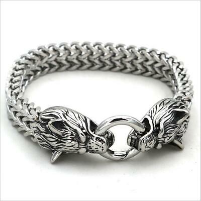 Men's Stainless Steel Viking Wolf Fenrir Head Wolves Head Bracelet Bangle UK • 11.29£