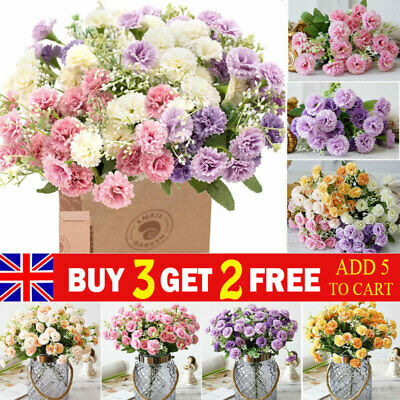 £4.99 • Buy 20 Heads Artificial Carnation Fake Silk Flower Bouquet Garden Wedding Home Decor