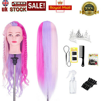 50% Real Hair 26-28  Curling Training Head Styling Mannequin Doll&Braiding Sets • 23.99£