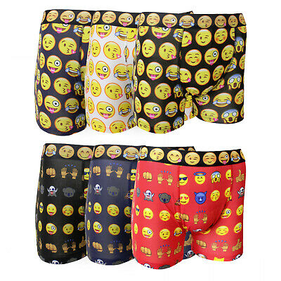 £6.95 • Buy Mens 3 Pack Cotton Rich Funky Emoji Design Stretch Boxer Shorts Trunks - SMALL