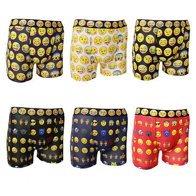 £12.95 • Buy Mens 6 Pack Cotton Rich Funky Emoji Design Stretch Boxer Shorts Trunks - SMALL