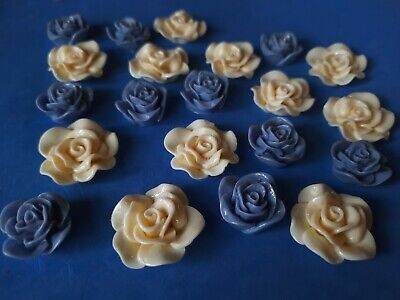 £2.99 • Buy 20 Rose Flower Acrylic Cabochon 29mm, 20mm Flat Back For Craft,Jewellery Making