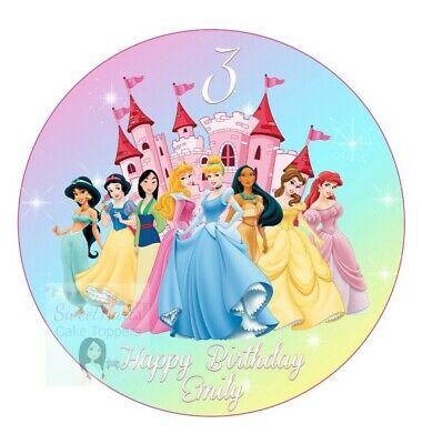 £5.99 • Buy Princess Cake Topper Round Personalised Edible Icing Birthday Cake Decor D1