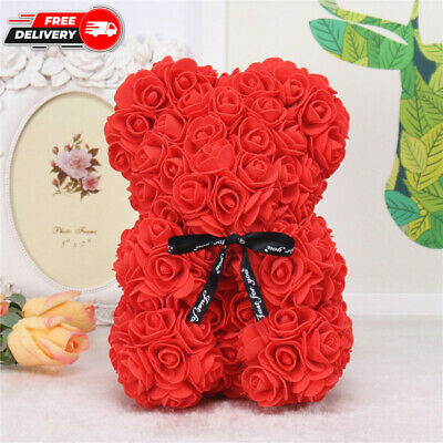 AU0.01 • Buy 25CM Red Color Rose Teddy Bear Artificial Flowers Valentine's Day Birthday Gift