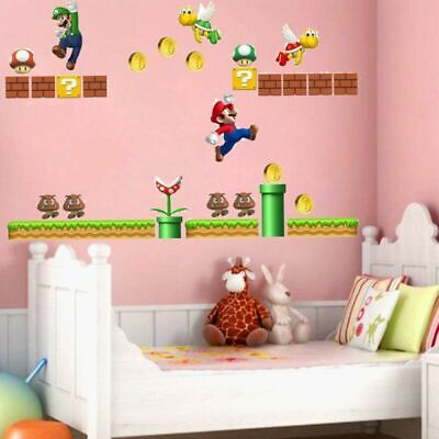 £8.99 • Buy UK Super Mario Bros Removable Wall Stickers Decal Kids Bedroom Home Decoration