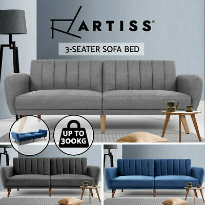 AU161.95 • Buy Artiss Sofa Bed Lounge 3 Seater Futon Couch Beds Recliner 207cm Fabric Velvet
