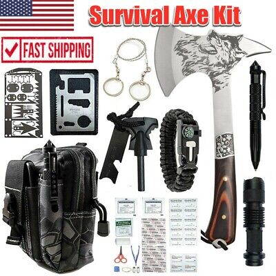 $54.99 • Buy Camping Survival Tactical Axe Hatchet Mutil Tools Kit Outdoor Emergency Gear Set