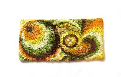 AU439.97 • Buy ABSTRACT 70s SMALL PSYCHEDELIC  WOOL WALL CARPET RUG SHAG VINTAGE MID CENTURY