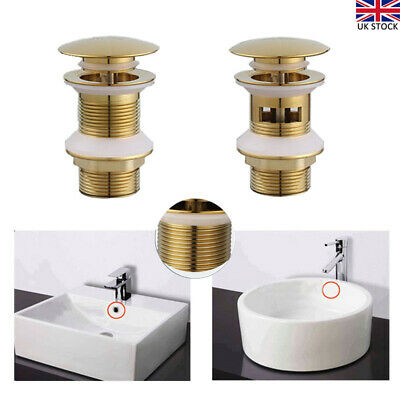 £10.99 • Buy Bathroom Basin Brass Waste Sink Pop Up Push Button Click Clack Plug Slotted