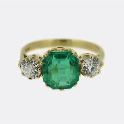£10095 • Buy 18ct Yellow Gold Colombian Emerald And Diamond Ring
