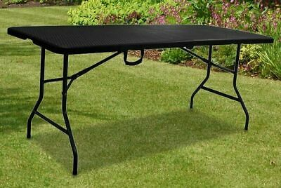 £42.90 • Buy New Brown 6ft Folding Table Portable Rattan Camping Garden Party Catering Hiking