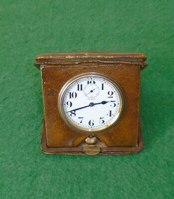 AU22.23 • Buy ANTIQUE TRAVEL CLOCK IN LEATHER CASE 8-DAY MOVEMENT WORKING ORDER Circa 1900