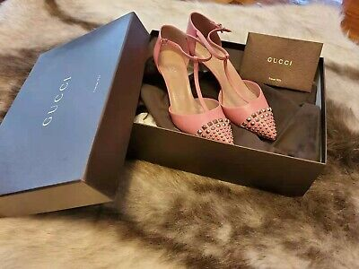 AU269 • Buy Gucci Pink Coline Studded Leather T-strap Pumps Heels Shoes In Sz 34.5