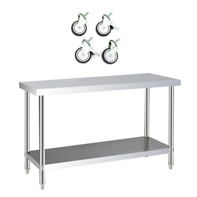 £139.14 • Buy Kitchen Work Table Stainless Steel Metal Commercial Workbench Cart With Wheels