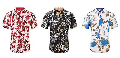 $19.99 • Buy Above Man By Suslo Couture Men's Short Sleeve Printed Floral Button Down Shirt
