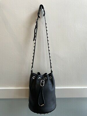 AU226.20 • Buy Alexander Wang Black Leather Bucket Bag With Silver Studs