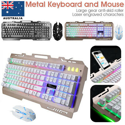 AU23.99 • Buy PC Laptop Gaming Wired USB LED Keyboard And Mouse Combo Bundles Set For PS4 Xbox
