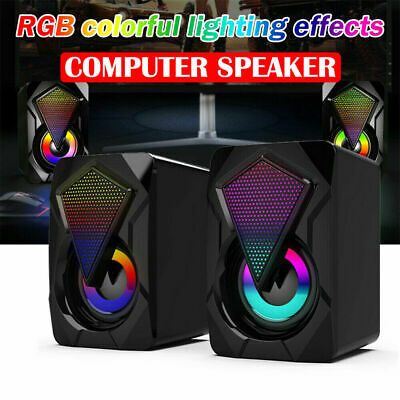£10.44 • Buy Surround Sound System LED Speakers Gaming Bass USB Wired For Desktop Computer PC